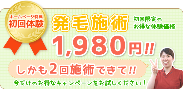 発毛施術初回限定のお得な体験価格!2回施術ができて1,980円