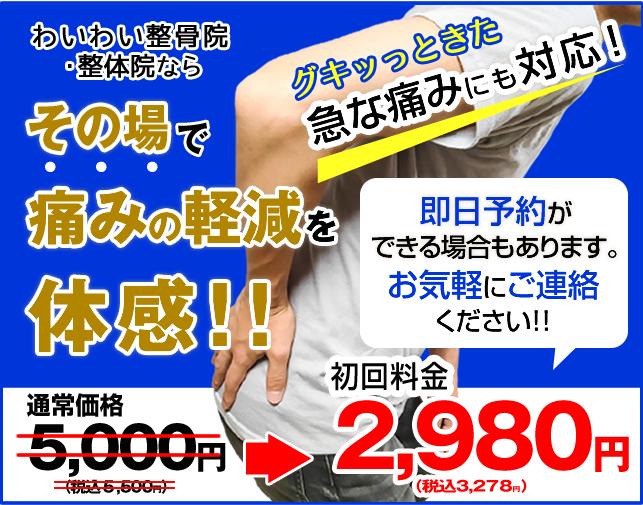 ギックリ腰・寝違え施術。その場で痛みの軽減を体感できます。初回料金2980円